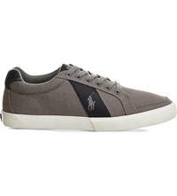 Ralph Lauren Hugh Cotton Low Top Trainers Grey Navy Canvas