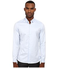 The Kooples Fitted Smart Twill Button Up Blue Men's Clothing