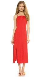 Cedric Charlier Pleated Split Hem Dress Red