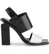 Marni Two Tone Leather Heeled Sandals Natural White Black