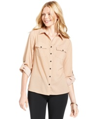 Ny Collection Petite Top Three Quarter Sleeve Polka Dot Cotton Shirt Akron