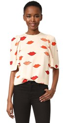 Victoria Beckham Gathered Sleeve Top Cream Multi