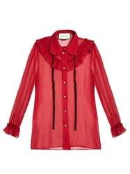 Gucci Long Sleeved Silk Chiffon Blouse Red