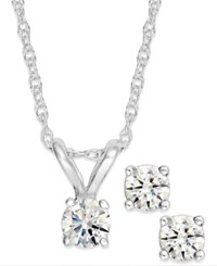 Macy's Round Cut Diamond Pendant Necklace And Earrings Set In 10K Yellow Or White Gold 1 6 Ct. T.W.