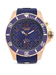 Kyboe Rose Goldtone Stainless Steel Silicone Strap Watch Purple Rosegold