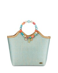 Capelli Of New York Cappelli Beaded Large Satchel Bag Aqua Blue