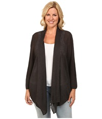 Nic Zoe Plus Size At Ease Cardy Dark Truffle Women's Sweater Brown