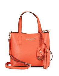 Karl Lagerfeld Bridget Leather Satchel Deep Apricot