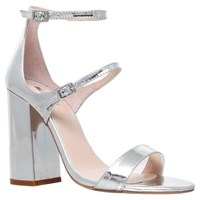 Carvela Genetic Double Strap Block Heeled Sandals Silver