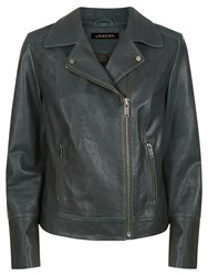 Jaeger Leather Biker Jacket Khaki