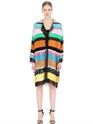 Maurizio Pecoraro Sequined Stripes Silk Coat