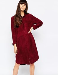 Selected Victoria Longline Shirt Dress In Suede Decadent Chokolat Red