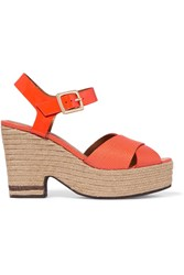Fendi Lizard Effect And Patent Leather Espadrille Sandals Red