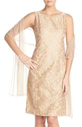 Women's Alex Evenings Embroidered Mesh A Line Dress And Shawl
