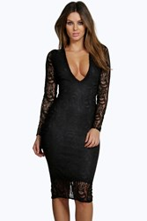 Boohoo Lace Long Sleeve Plunge Bodycon Dress Black