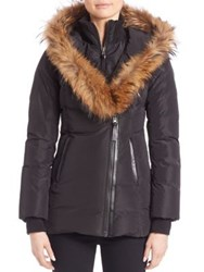 Mackage Adali Fur Trim Hooded Down Jacket Black