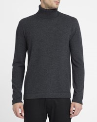 Hartford Charcoal Cashmere Wool Polo Neck Sweater Grey