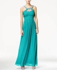 City Triangles City Studios Juniors' Embellished Cutout Ruched Empire Waist Gown