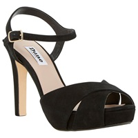 Dune Marleen Platform Stiletto Sandals Black Suede