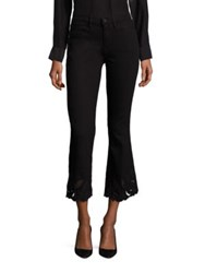 Frame Le High Cropped Flared Cutout Jeans Noir