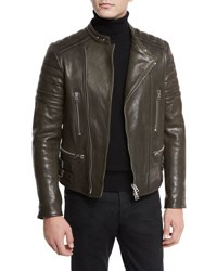 Tom Ford Icon Quilted Leather Biker Jacket Navy