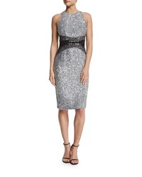 Pamella Roland Sleeveless Embellished Cocktail Dress Silver Pewter Black Women's Silver Pewter Bla