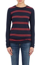 Barneys New York Striped Long Sleeve Top Blue