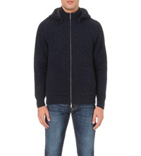 Etro Chunky Cable Knitted Hoody Navy