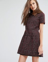 Boss Orange By Hugo Akarli Boucle Tweed Look Short Sleeve Dress Burgundy Red
