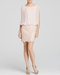 Aidan Mattox Dress Sleeveless Chiffon Blouson Bodice And Lace Skirt Mini Petal