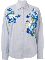 P.A.R.O.S.H. Sequin Embellished Striped Shirt Blue