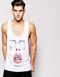 Asos Vest With Hustler Print And Extreme Racer Back White