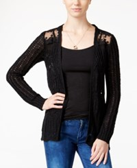 American Rag Pointelle Knit Lace Panel Cardigan Black