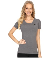 Nike Pro Cool Short Sleeve Shirt Dark Grey Heather Black Women's Short Sleeve Pullover Gray