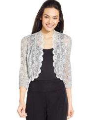 R And M Richards Scalloped Sequin Lace Bolero Silver