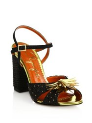 Charlotte Olympia Sequin Embellished Raffia Sandals Black Gold