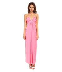 Tbags Los Angeles Deep Ve Ruched Halter Maxi W Braided Ties Neon Pink Women's Dress