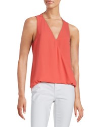Design Lab Lord And Taylor Surplice Hi Lo Blouse Coral