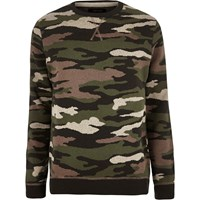 River Island Mens Dark Green Camo Military Jumper
