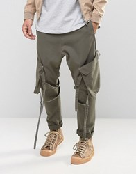 Asos Drop Crotch Trousers With Strapping In Washed Khaki Khaki Green