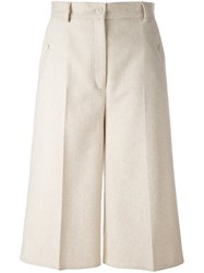 Maison Martin Margiela Mm6 Cropped Wide Leg Trousers Nude And Neutrals