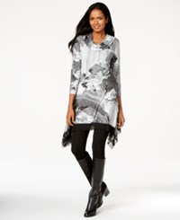 Cable And Gauge Cowl Neck Printed Handkerchief Hem Tunic Top Black White Photolandscape