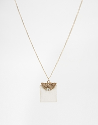 And Mary Necklace With Leather Coin Purse Charm Gold