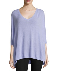 Minnie Rose Cashmere 3 4 Sleeve Oversize Sweater Violet