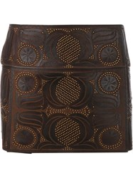 Valentino Embroidered Leather Mini Skirt Brown
