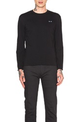 Comme Des Garcons Play Black Emblem Cotton Long Sleeve Tee In Black