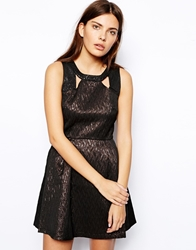 Sugarhill Boutique Lets Party Metallic Skater Dress Blackbronze