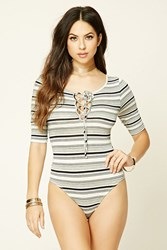 Forever 21 Striped Lace Up Bodysuit