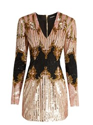 Balmain V Neck Sequin Embellished Dress Pink Multi