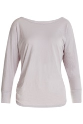 Velvet Long Sleeve Cotton T Shirt Beige